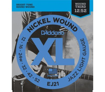 EJ21 XL NICKEL WOUND Струны для электрогитары Jazz Light 12-52 D`Addario