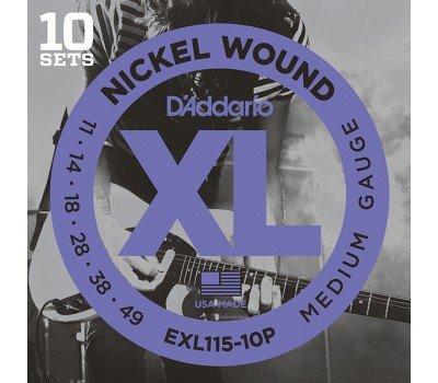 EXL115-10P Nickel Wound Струны для электрогитары, Medium/Blues-Jazz Rock, 11-49, 10 компл, D'Addario